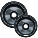 Range Kleen P109102X Style F 2-Pack Heavy Duty Black Porcelain Drip Pans