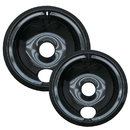 Range Kleen P139402XCD5 Style B 2-Pack Heavy Duty Black Porcelain Drip Bowls