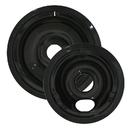 Range Kleen P179802XCD5 Style C 2 Pack Heavy Duty Black Porcelain Drip Bowls
