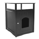 Zoovilla PTH0951721710 Cat Washroom Litter Box Cover / Night Stand Pet House, Black