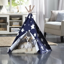 Zoovilla PTP0070203000 Pet Teepee, Blue with White Stars, Medium