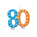 Creative Converting 100812 Bright and Bold 80th Molded Numeral Candle with balloons (Case of 6)