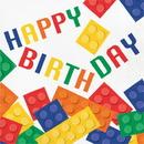 Creative Converting 102051 Block Party Luncheon Napkin, Happy Birthday (Case Of 12)