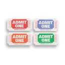 Creative Converting 132500 Ticket Roll - Admit One Red/Bl/Or/Gr (Case of 4)