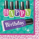 Creative Converting 317274 Sparkle Spa Party! Luncheon Napkin, Happy Birthday (Case Of 12)