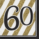 Creative Converting 317542 Black & Gold Luncheon Napkin, '60 (Case Of 12)