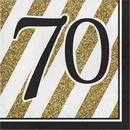Creative Converting 317543 Black & Gold Luncheon Napkin, '70 (Case Of 12)