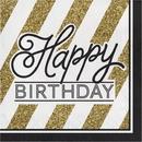 Creative Converting 317546 Black & Gold Luncheon Napkin, Happy Birthday (Case Of 12)