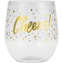 Creative Converting 329904  Plastic Stemless Wine Glass - Cheers, CASE of 6