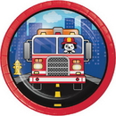 Creative Converting 331499 Flaming Fire Truck Luncheon Plate, CASE of 96
