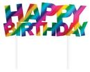 Creative Converting 331795 Rainbow Foil Bday Cake Topper, Happy Birthday, Rainbow Foil (Case Of 12)