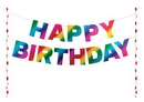 Creative Converting 331798 Rainbow Foil Bday Happy Birthday Pennant Cake Topper, Rainbow Foil (Case Of 12)