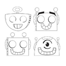 Creative Converting 332234 Party Robots Favor, Color-Your-Own Mask, CASE of 72