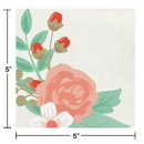 Creative Converting 332669 Modern Floral Luncheon Napkin, 3 Ply Ivory, CASE of 192