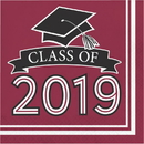Creative Converting 335413 Class Of 2019 Luncheon Napkin, Class Of 2019, Burgundy, CASE of 360