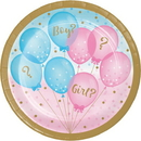Creative Converting 336065 Gender Reveal Balloons Dessert Plate (Case of 96)