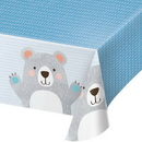 Creative Converting 336645 Birthday Bear Plastic Tablecover All Over Print, 54