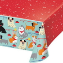 Creative Converting 336668 Dog Party Plastic Tablecover All Over Print, 54