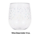 Creative Converting 336727  Plastic Stemless Wine Glass - Iridescent Dots, CASE of 6