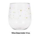 Creative Converting 336729  Plastic Stemless Wine Glass - Gold Stars, CASE of 6