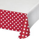 Creative Converting 337056 Dots & Stripes Classic Red Plastic Tablecover Border Print, 54