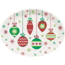 Creative Converting 339337 Christmas Plastic Tray, 10 X 14 Oval, Christmas Ornaments (Case Of 12)