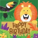 Creative Converting 339768 Jungle Safari Luncheon Napkin, Happy Birthday (Case Of 12)