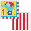 Creative Converting 339775 Circus Party Luncheon Napkin, 1St Birthday (Case Of 12)