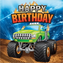 Creative Converting 339805 Monster Truck Rally Luncheon Napkin, Happy Birthday (Case Of 12)