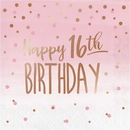 Creative Converting 340155 Rosé All Day Luncheon Napkin, 16Th Bday, Foil Stamp (Case Of 12)