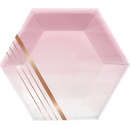 Creative Converting 340167 Rosé All Day Luncheon Plate, Shaped, Foil, Stripes (Case Of 12)