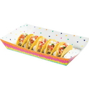 Creative Converting 340187 Fiesta Fun Paper Tray With Divider Insert For Tacos (Case Of 6)