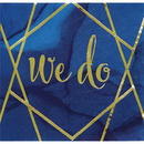 Creative Converting 343971 Navy Blue Gold Geode Luncheon Napkin, Foil Stamp, We Do (Case Of 12)