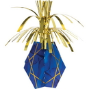 Creative Converting 344490 Navy Blue Gold Geode Centerpiece, Fringe W/ Base (Case Of 6)