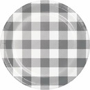 Creative Converting 346135 Luncheon Plate Gray And White Check