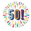 Creative Converting 346334 Luncheon Plate, 50 Birthday Burst