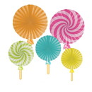 Creative Converting 346431 Paper Fans With Attachments Candy Shop Party