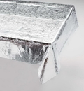 Creative Converting 38320 Metallic Silver Metallic Tablecover 54 X 108 Solid (Case of 12)