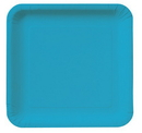 """Creative Converting 463040 Turquoise 9"""" Square Dinner Plates (Case of 180)"""