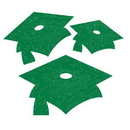 Creative Converting 991126 Graduation Décor Mini Glitter Cutout Asstmnt, Green, CASE of 72