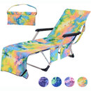 Muka Microfiber Tie-Dye Lounge Chair Cover with Pockets No Sliding Easy-Carry Beach Towel for Pool Sunbathing/Beach/Hotel/Garden