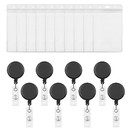 GOGO 50 Pcs Translucent Color Retractable Badge Reels with 50 Pcs Vertical Style ID Card Badge Holders, Size(3.5 x 2.3 inches/ 3 x 4 inches/ 4 x 6 inches)