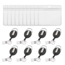 GOGO 50 Pack Retractable Badge Reel with Key Ring and Heavy Duty Horizontal Id Card Holders, 2 Size