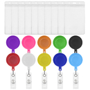 GOGO 50 Pack Solid Color Retracting Badge Reel Solid Color with Vertical Style Clear ID Card Holders , 3 Size