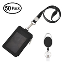 GOGO 50 Pack Retractable Carabiner Badge Reel with PU Leather ID Card Holder and 18