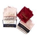 Women's Satin Kimono Robe, Bridesmaid Bride Wedding Party Satin Robe with Gold Glitter, Daily Dressing Gown