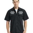 Personalized Short Sleeve Work Shirt Customized Work Clothes -- Embroidered above Two Pockets