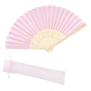 Aspire 12 Pieces Silk Folding Fans with Organza Drawstring Bags, Chic Party Favor