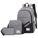 Teens Backpack Set of 3 Pieces Canvas School Bag Bookbag Travel Rucksack for Boys Girls