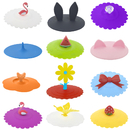 Aspire (12PCS) Cute Flower Silicone Drink Cup Lids, Creative Mug Cover Airtight Seal - Assorted